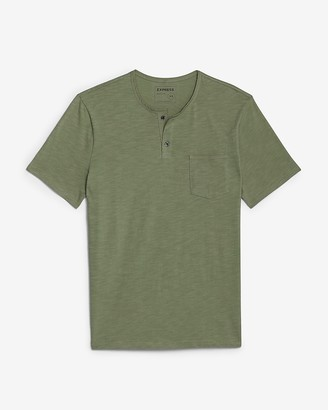 Express Short Sleeve Henley Slub T-Shirt