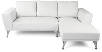 Noble House Amira Modern Faux Leather Chaise Sectional, White