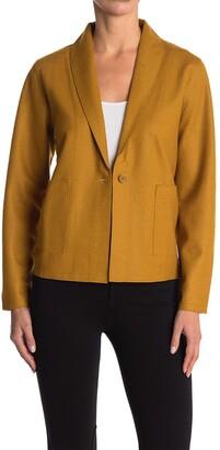 Eileen Fisher Shawl Collar Patch Pocket Wool Jacket