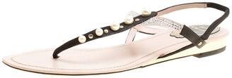 Rene Caovilla Black/Beige Satin Pearl Detail Flat Sandals Size 37