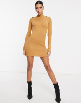 Brave Soul military sweater dress in camel