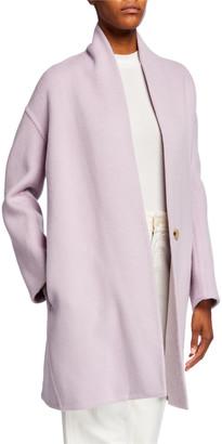 Vince Collarless Wool Blend Coat