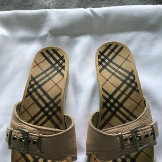 Burberry Pink Leather Mules & Clogs