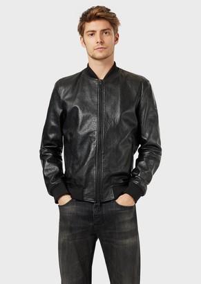 Emporio Armani Bomber In Semi Plant Origin Nappa Leather With All-Over Embossed Logo