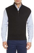 Robert Talbott Men's Cable Knit Quarter Zip Cotton Blend Sweater Vest