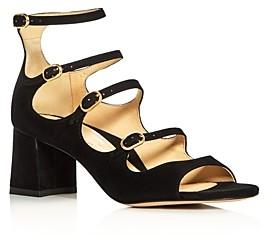Marion Parke Women's Bernadette Suede Strappy Mary Jane Block-Heel Sandals