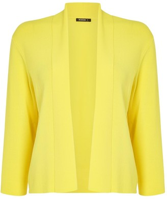 Roman Originals Women Knitted Bolero Shrug Jacket - Ladies Cropped 3/4 Length Sleeve Special Occasion Summer Smart Formal Casual Cover Up Cardigan Blazer - Lime - Size 10
