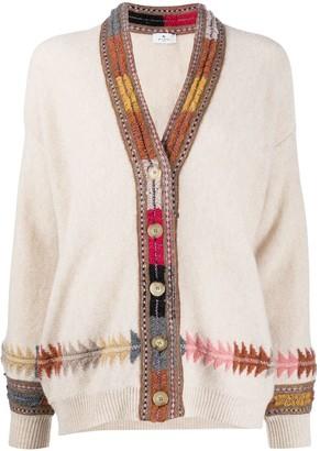 Etro Contrast-Embroidery Cardigan