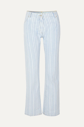 Off-White Off White Striped Mid-rise Straight-leg Jeans - Blue