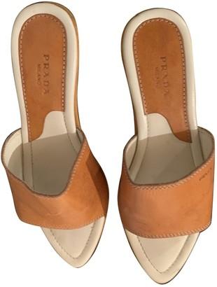 Prada Orange Leather Mules & Clogs