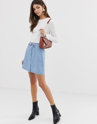 Asos Design DESIGN denim button through mini skirt with skinny belt in pretty blue