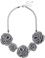 Adele Marie Rose Flower Necklace, Silver