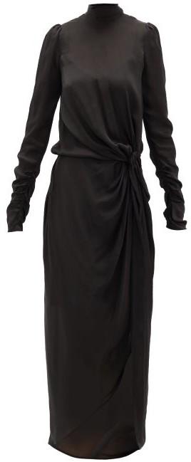 Zimmermann Drape Knotted Silk-chiffon Dress - Black