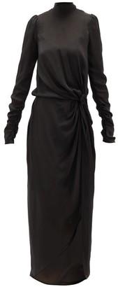 Zimmermann Drape Knotted Silk-chiffon Dress - Womens - Black