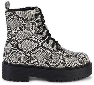 Mia Cortez Snakeskin-Embossed Combat Boots