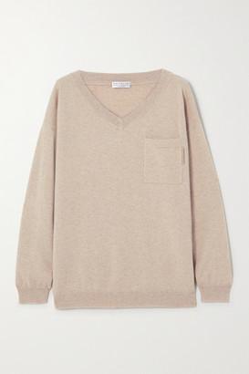 Brunello Cucinelli Bead-embellished Cashmere Sweater - Beige