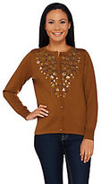 Bob Mackie Bob Mackie's Button Front Cardigan with Embroidery and Sequin Detail