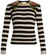 Gucci Floral-embroidered striped cashmere-blend sweater
