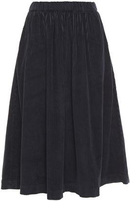 American Vintage Gathered Cotton-blend Corduroy Midi Skirt