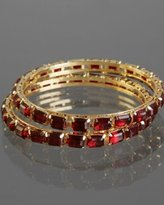 set of 2 - dark red crystal studded bangles