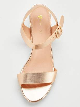 Very Gala Wide Fit Low Block Heeled Sandal - Rose Gold
