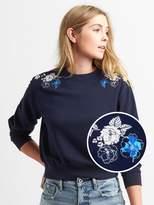 Gap Floral Embroidery Pullover Crewneck Sweatshirt