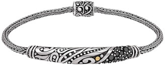 Devata Sterling Silver Bali Filigree Woven Dragon Bone Black Spinel Chain Bracelet