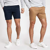 Mens Brown and navy skinny chino shorts 2 pack
