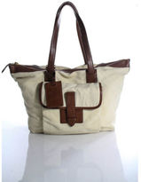 Ralph Lauren White Brown Canvas Leather Tote Handbag