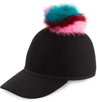 CHARLOTTE SIMONE Sass Single-Pom Wool Felt Baseball Cap