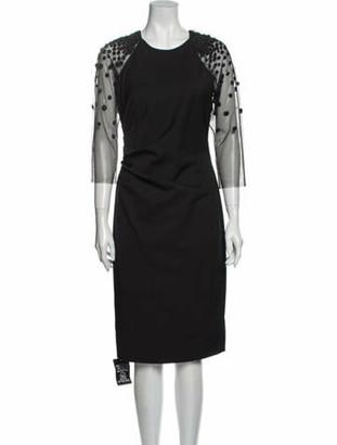 Lela Rose Scoop Neck Midi Length Dress Rose