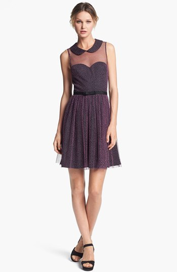 Betsey Johnson Textured Dot Mesh Fit & Flare Dress