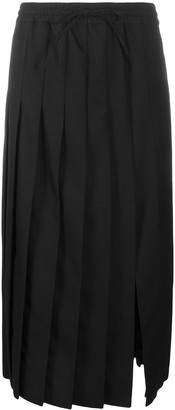 Semi-Couture Knife-Pleat Split Midi Skirt