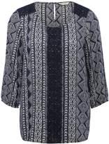 M&Co Tribal print crochet lace top