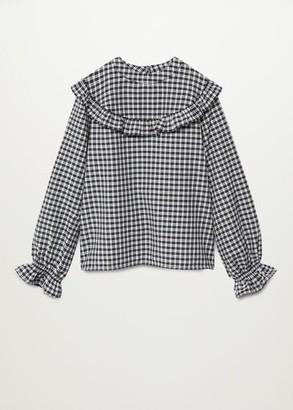 MANGO Checked frills shirt