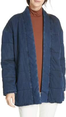 Eileen Fisher Slouchy Quilted Denim Jacket