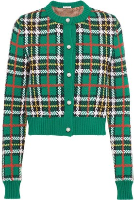 Miu Miu Check Print Wool Cardigan