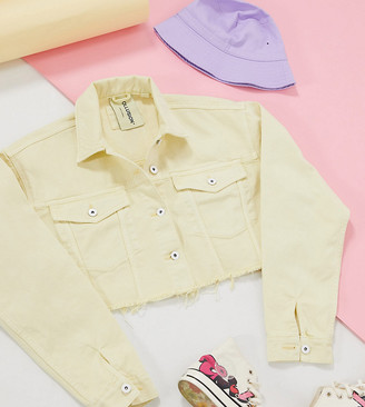 Collusion denim cropped jacket in washed yellow