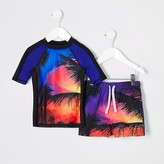 Mens River Island Mini boys Red palm print swim top set