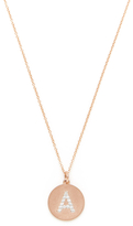"""14K Rose Gold & 0.10 Total Ct. Diamond """"A"""" Initial Disc Pendant Necklace"""