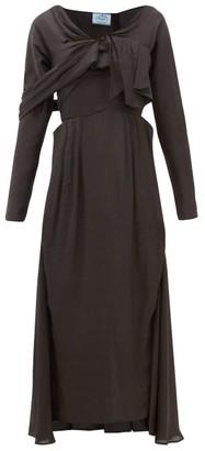 Prada Draped-front Sateen Midi Dress - Womens - Dark Grey