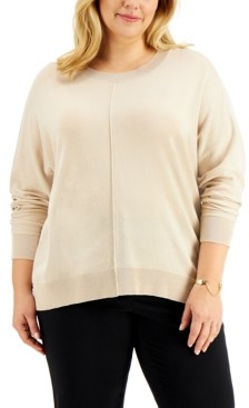 Alfani Plus Size High-Low Dolman-Sleeve Sweater, Created for Macy's