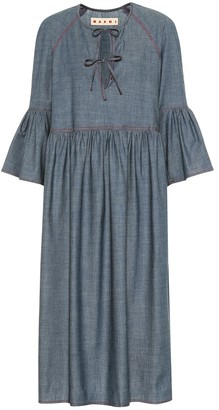 Marni Stretch-cotton chambray midi dress