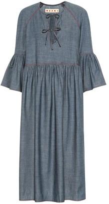 Marni Stretch-cotton chambray midi dress