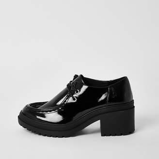 River Island Black patent lace-up chunky shoes