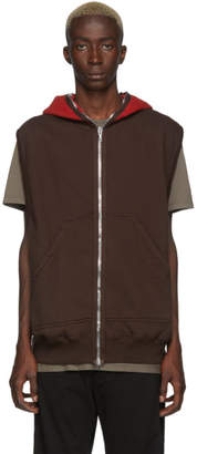 Rick Owens Brown and Red Gimp Sleeveless Hoodie