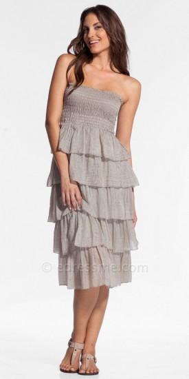 Elan International Strapless Fringe Stripes Sundresses