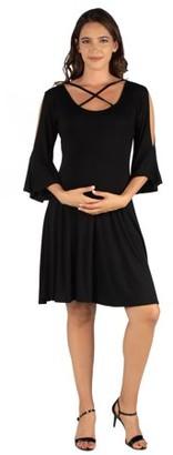 24/7 Comfort Apparel 24seven Comfort Apparel Criss Cross Neckline Cold Shoulder Maternity Dress