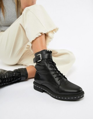 Asos DESIGN Algebra leather lace up boots