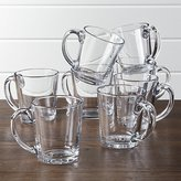 Crate & Barrel Tempo Clear Glass Coffee Mug Set of 8